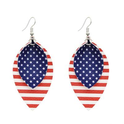 E-5596 Fashion PU Leather Water Drop Earrings Creative American Flag Multilayer Geometric Earrings
