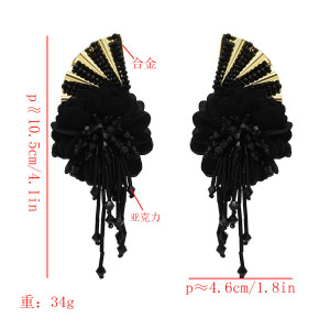 E-5599 Europe and the United States new four colors butterfly wings flower tassel diamond earrings
