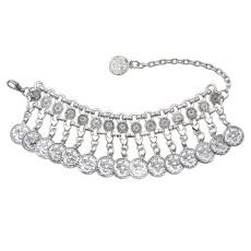 B-1003 Silver Coin Bracelet Adjustable Handmade Floral Design Gypsy Ethnic Tribe Festival Jewellery