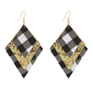 E-5598 Christmas Plaid Earrings PU Leather Earrings Lightweight Dangle Earrings for Women Girl