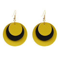 E-5597 Fashion Multi-Layer Leather Round Earrings for Woman