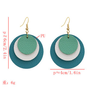 E-5597 * Fashion Multi-Layer Leather Round Earrings for Woman
