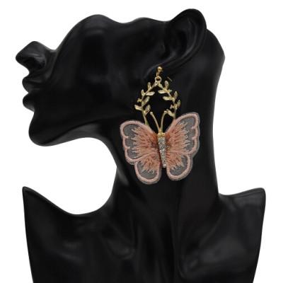 E-5600 Fashion Butterfly Shape Drop Earrings for Women Girl Gold Alloy Rhinestone Earring Cocktail Party Jewelry