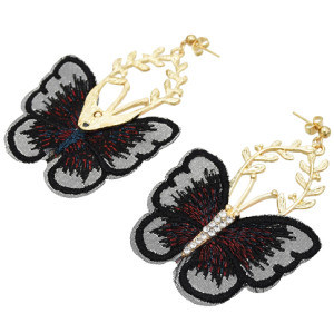 E-5600 Fashion Butterfly Shape Drop Earrings for Women Girl Gold Alloy Rhinestone Earring Cocktail Party Jewelry