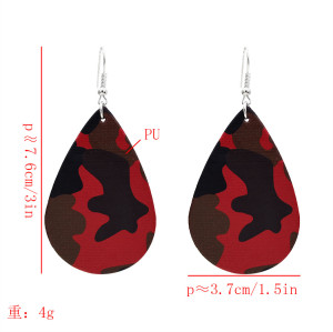 E-5602 Teardrop Leather Earrings Petal Drop Earrings Antique Lightweight Leather Earrings