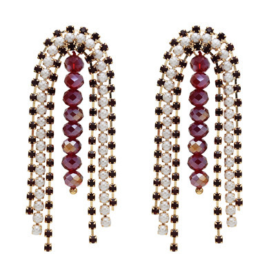 E-5601 Fashion Rhinestone Pearl Arched Double Tassel Earring for Woman