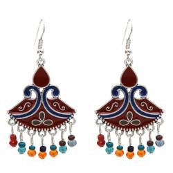 E-5607 Vintage Silver Jhumka Earrings Enamel Acrylic Beaded Statement Tassel Earring Indian Tribal Jewelry