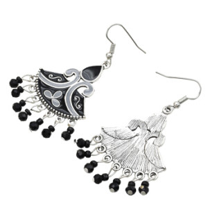 E-5607 Vintage Silver Jhumka Earrings Enamel Acrylic Beaded Statement Tassel Earring Indian Tribal Jewelry