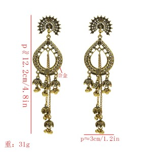 E-5610 Bohemia new water drop hollow peacock fringed gold and silver two popular ladies earrings