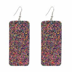 E-5609 Personalized European and American leather sequins Grit earrings square rectangular geometric PU earrings