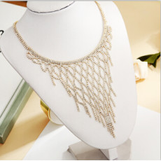 N-7328 Elegant Full Rhinestone Tassel Necklaces Women Bridal Bib Statement Choker Necklace Wedding Party Jewelry