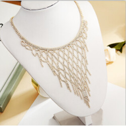 N-7328 Elegant Full Rhinestone Tassel Necklaces Women Bridal Bib Statement Choker Necklace Wedding Party Jewelry