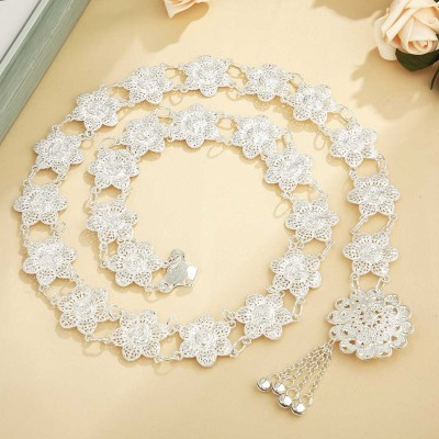 N-7329 2 style Hollow Out Flower Waist Chains Crystal Sexy Beach Belly Belt Body Chains Link Tassel Gypsy Women bell Body Jewelry