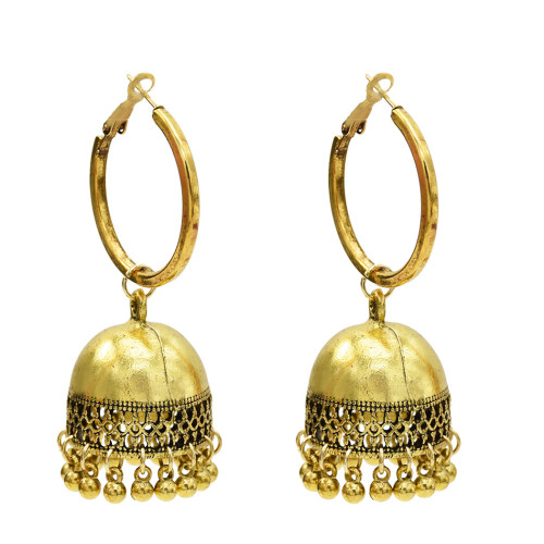 E-5614 European and American new style gold and silver bell tassel ladies small pendant earrings