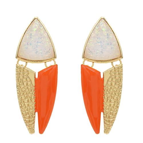 E-5616 Fashion Jewelry Leather Pattern Earrings Triangle Geometric Style Women Earrings Party Jewelry