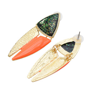E-5616 Fashion Jewelry Leather Pattern Earrings Triangle Geometric Style Women Earrings Party Jewelry