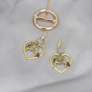 E-5615 Fashion vintage hollow double heart lock Cross creative love bird Bird Playful pattern earrings personality alloy earrings women's party Jewerly