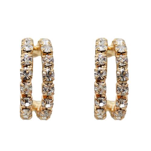 E-5619 Fashion Round Rhinestone Ear Pin Earring Jewelry Simple Style Jewelry