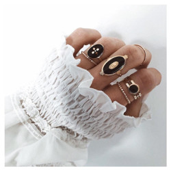 R-1517 4 Styles Retro Eye Shell Snake Shape Ring Set Hollow Carved Ring for Woman