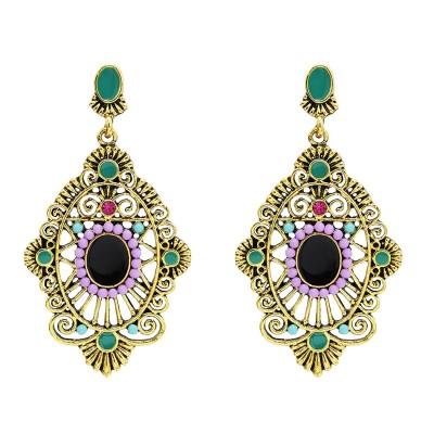 E-5627 Fashion vintage Turkish geometric colorful gems ancient gold silver delicate diamond ladies earrings bohemian jewelry