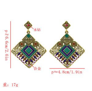 E-5628 Fashion Vintage Turkish Cambodian Style Silver Gold Alloy Geometric Colorful Earrings