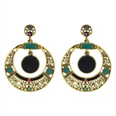 E-5630 Vintage  Alloy Micro Inlaid Rhinestone Hollow Round Earrings Personalized Fashion Oval Earrings Jewelry
