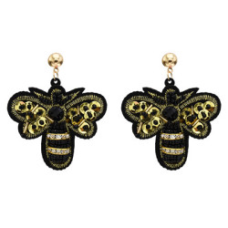 E-5631 Cute Sequins Cloth Beads Rhinestone Butterfly Earring for Woman