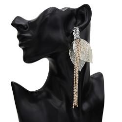 E-5635 Fashion New Gold and Silver Hollow Leaf Long Tassel Earrings Rhinestone Earrings for Woman