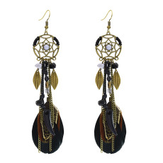 E-3855 Vintage Antique Silve Plated  Fashion Long Tassel Feather Resin Beads Drop Earrings  Fish Hook  Earrings For Women Jewelry