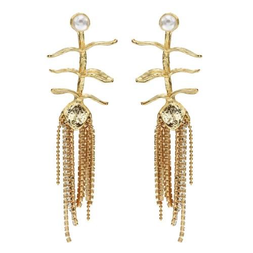 E-5637 New simple metal leaf inlaid pearl earrings European and American fashion flower long tassel earrings net red Jewlry