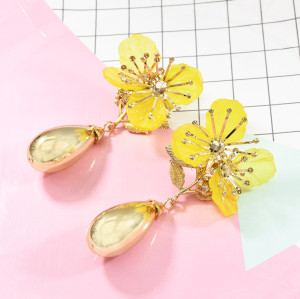 E-5642 4 Colors Fashion Simple Flower-shaped Earring Alloy Drop-shaped Jewelry