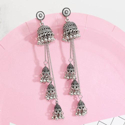 E-5643 2020 Women's Boho Geometric Long Chain Vintage personality Tassel Earrings  Elegant Metal Bell Earrings