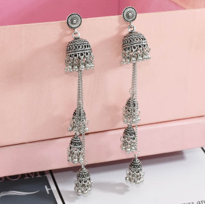 E-5643 2020 Women's Boho Geometric Long Chain Vintage personality Tassel Earrings  Elegant Metal Bell Earrings
