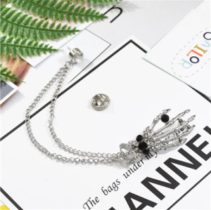 P-0447 Fashion Hand Shape Diamond Open Crystal Female Chain Tassel Brooch