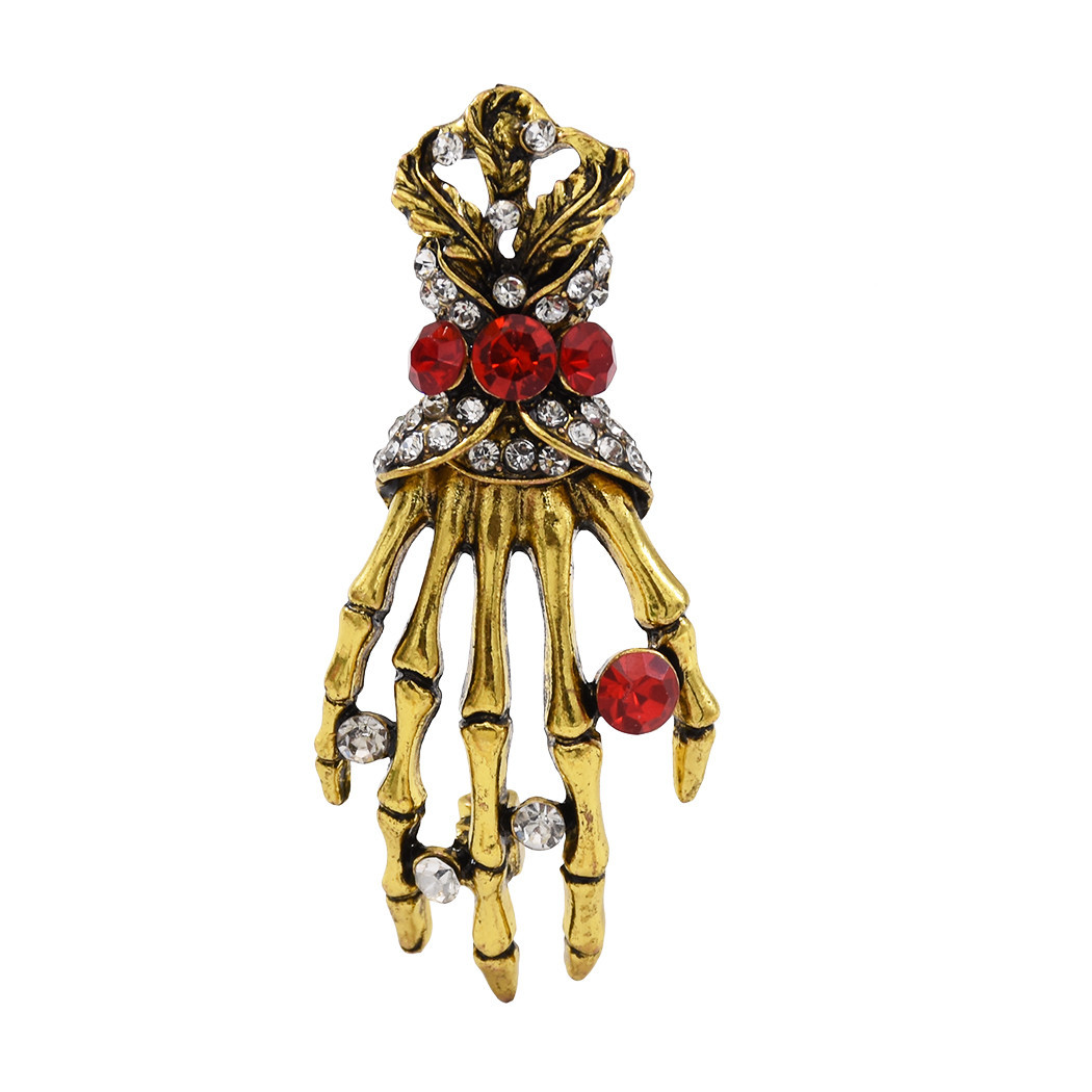 Fashion Hand shape Diamond open crystal female chain tassel brooch