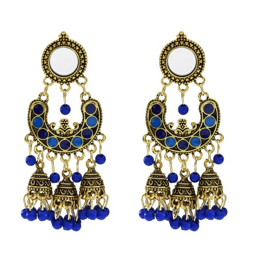 E-5644 Bohemia new six colors beads bride bridesmaid wedding bell tassel earrings