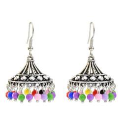 E-5647 Vintage Silver Alloy Colorful Beads Bells Tassel Jhumka Earrings for Women Bohemian Indian Jewelry