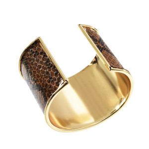 B-1008 Turkey 2 Colors Fashion Unique Snakeskin Pattern Leather Cuff Bracelet Jewelry Design
