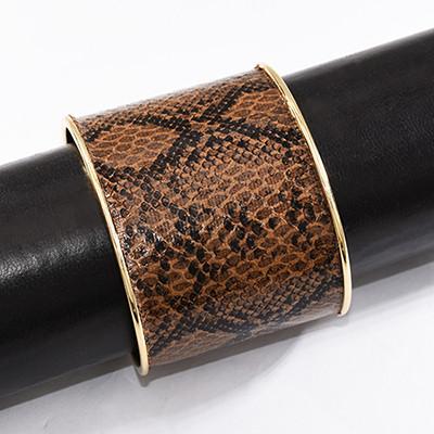 B-1008 Turkey 2 Colors Fashion Unique Snakeskin Pattern Leather Cuff Bracelet Jewelry Design