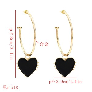 E-5649 Love Drop Heart Hoop Earrings Women Girl Gold Hoop Stud Earring