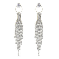 E-5648 Diamond Rhinestone Drop-Shaped Elegant Temperament Tassel Earrings Party Accessories