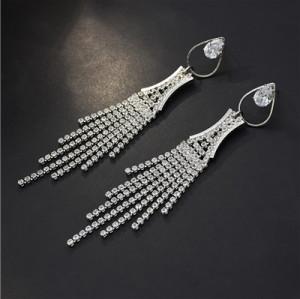 E-5648 Diamond Rhinestone Drop-Shaped Elegant Temperament Tassel Earrings Party Accessories