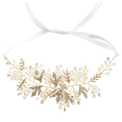 F-0720 Handmade Silver Gold Color Bridal Pearl Crystal Flower Headbands Wedding Hair Accessories