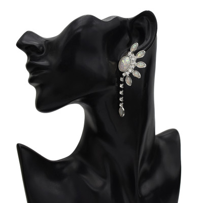 E-5650 Rhinestone Flower Dangle Earrings for Women Wedding Ear Jewelry