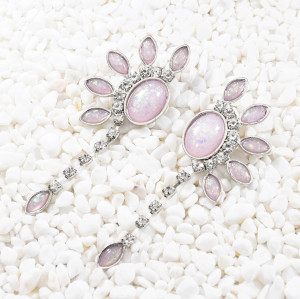 E-5650 Rhinestone Flower Dangle Earrings for Women Wedding Ear Jewelry