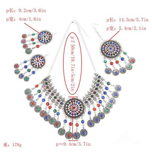 N-7331 Women Bohemia Jewelry Set Rhinestone Coin Tassel Dancing Earrings Necklace Hair Dangle Set