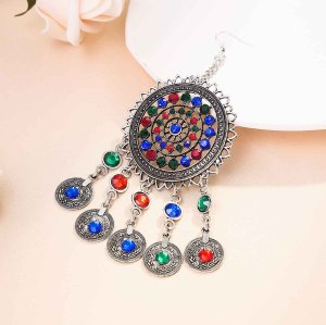 N-7331 Women Bohemia Jewelry Set Rhinestone Coin Tassel Dancing Earrings Necklace Hair Dangle Set