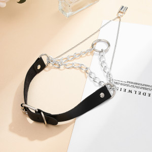 N-7332 Lock Pendant Leather Belt Chain Necklace For Any Occasion Jewelry Accessories