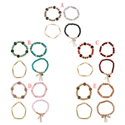 B-1009 5 Colors Multilayer Beaded Stretch Bracelets Set for Woman Party Jewelry