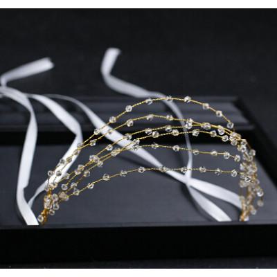 F-0723 Handmade Bridal Multi-layers Acrylic Beaded Headbands Headdress Wedding Hair Jewelry Accessories
